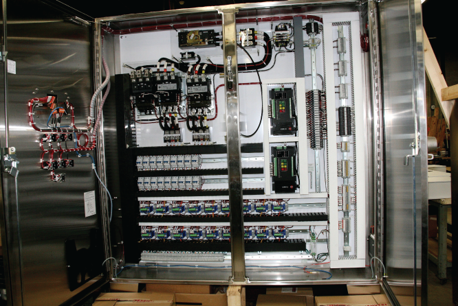 Photo: Simplex System Controls,' Inc. electrical panel is a work-of-art.