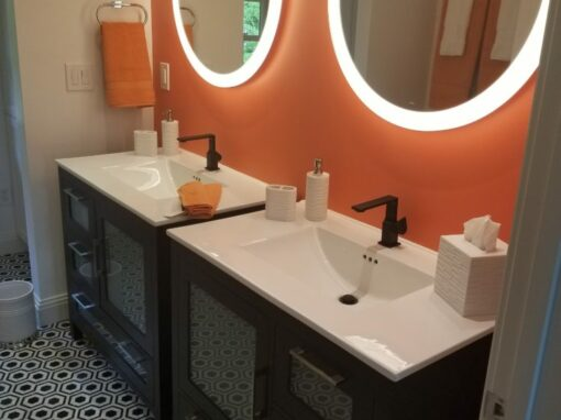 Valone Black and Orange Bathroom