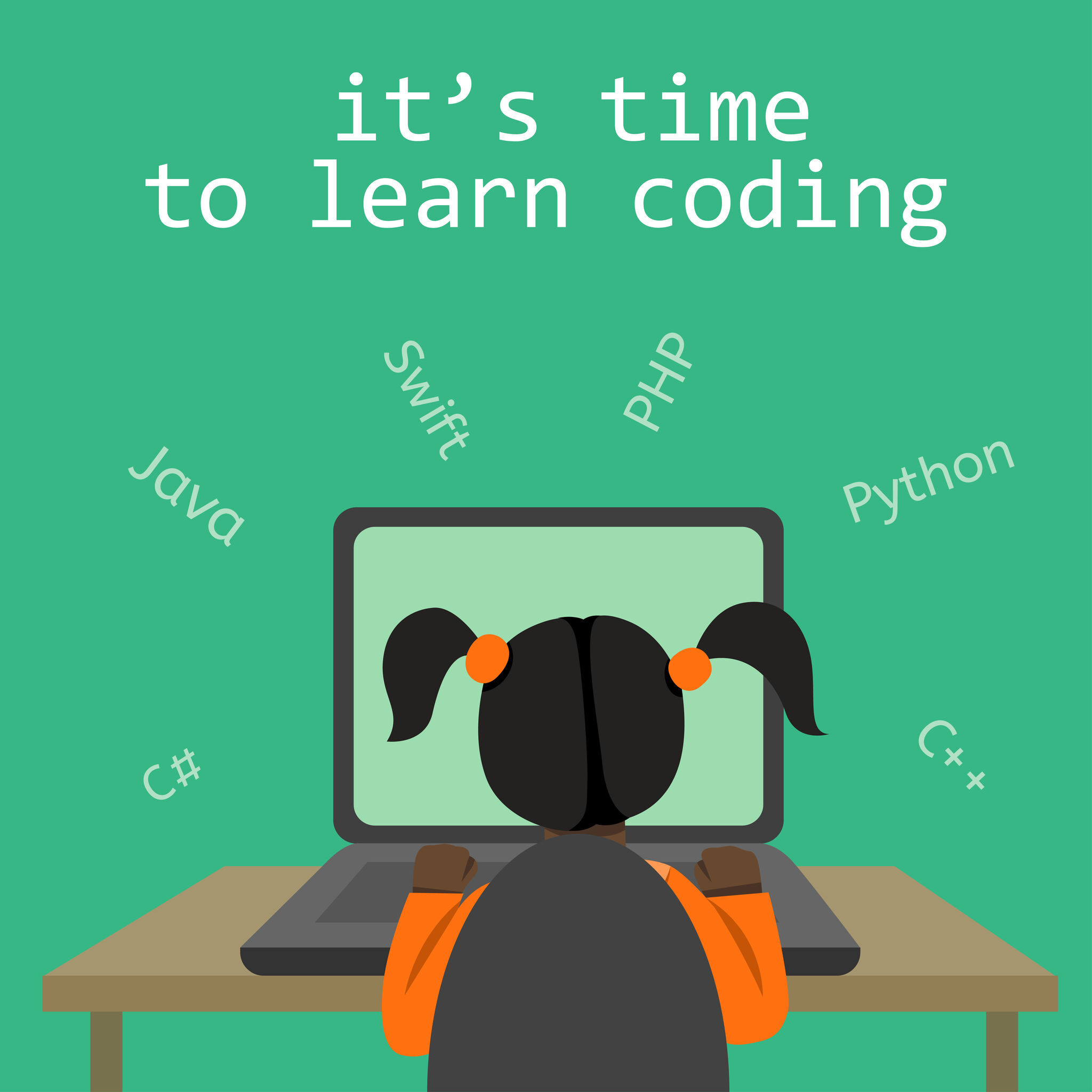 A vector image of a girl sitting at the desk and coding on the laptop making a block chain with a green background. IT for children illustration.