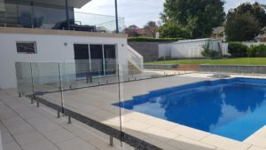 Glass pool balustrades