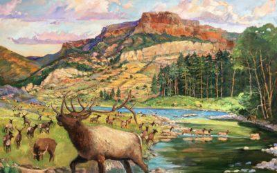 Elk Herd Under Fisher's Peak