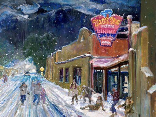 Snowball Fight at Taos Inn