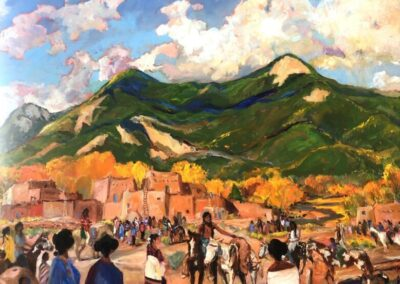 """""""The Hunter's Return, Indian Summer """"     Taos Gallery Guide Cover 2020-21"""