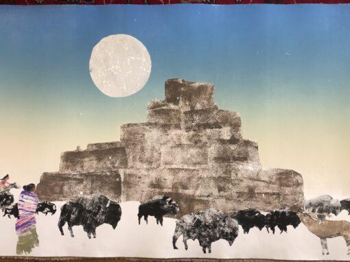 Buffalo and Elk Taos Pueblo Full Moon