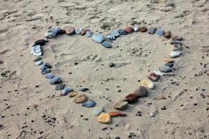 Beach with heart stones