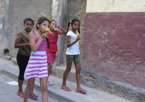 Girls walking down the road