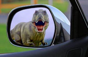 dinosaur in wing mirror
