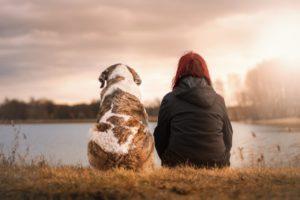 girl and dog
