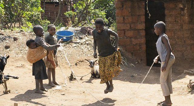 African children skipping