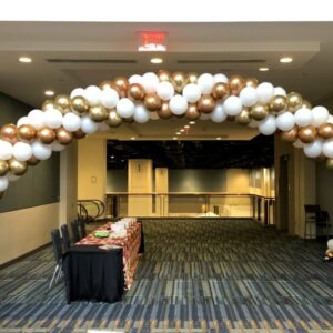 Balloon Arches are great for defining areas such as entry ways, buffet tables, and photo settings for any wedding, birthday, anniversary, or corporate event. Designs range from Luxurious Garland Arches, Elegant String of Pearl Arches, and Festive Linked Arches.  Transform your events with our balloon decorations or ask us about our balloon delivery.