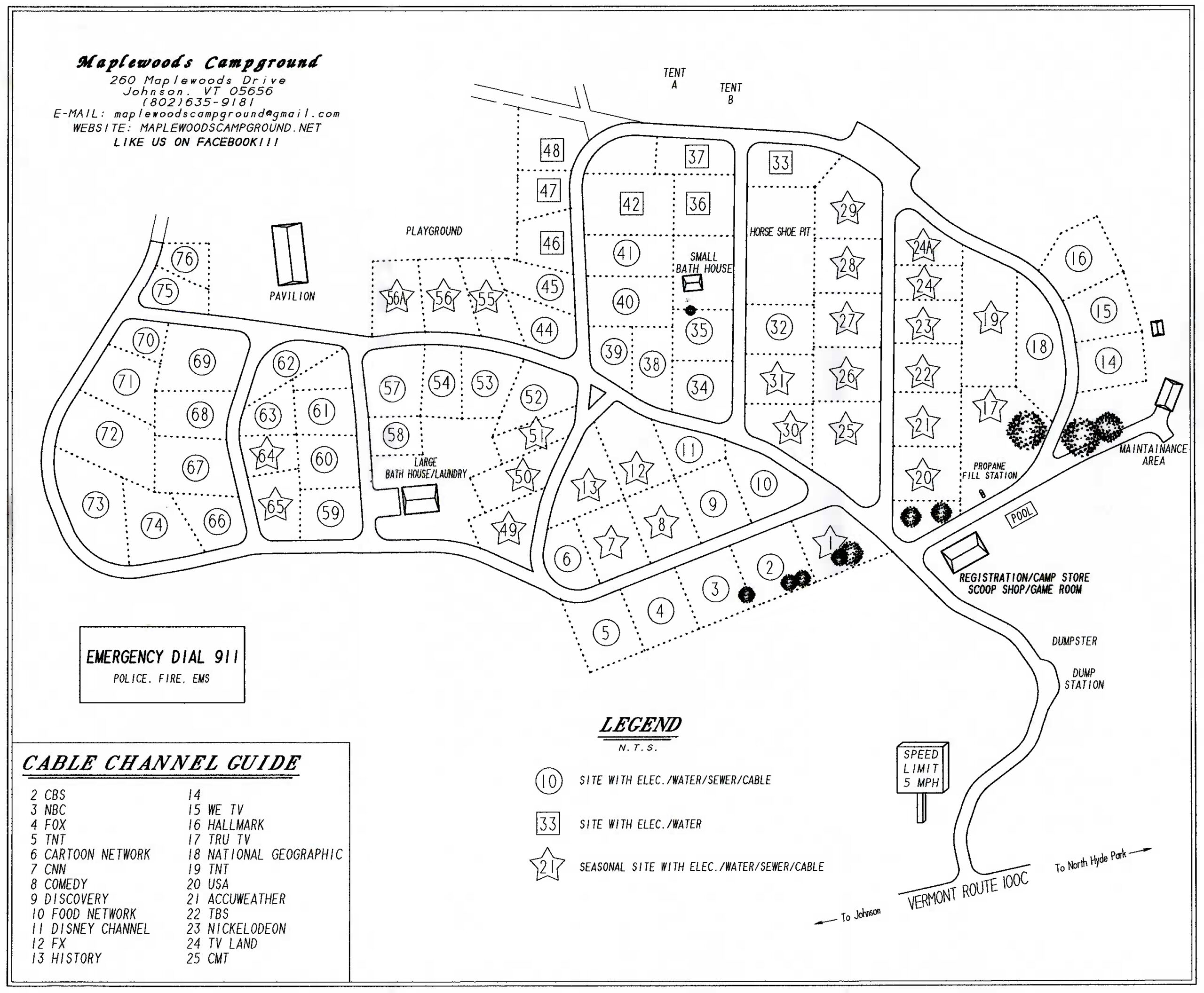 Maplewoods Campground site Map
