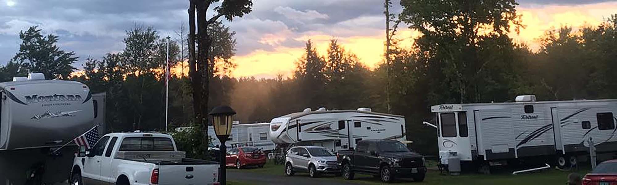 camping at sunset