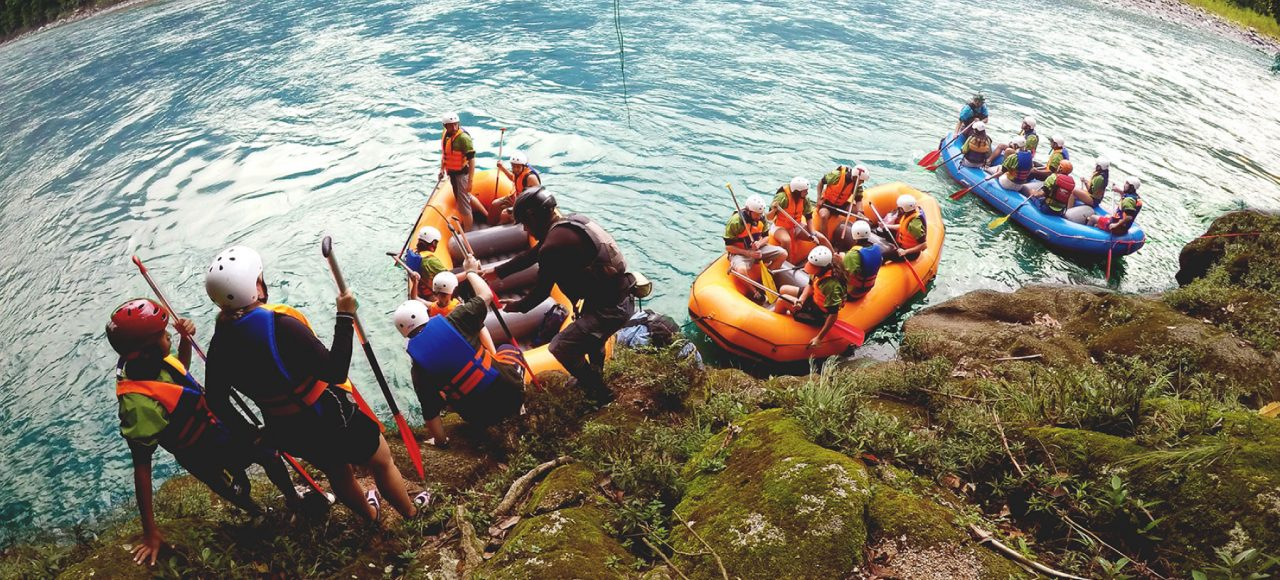 2 rafting boats, in a rafting trip in amazonian jungle in Ecuador