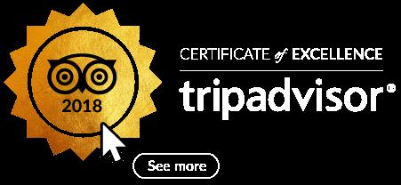 2018 certificate of Excellence, Tripadvisor