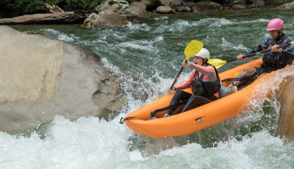 inflatable kayak on the Jondachi river