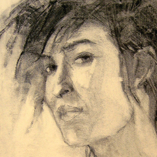 Girl with Vest Charcoal Drawing
