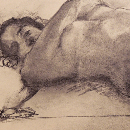 Resting With Glasses Charcoal Drawing