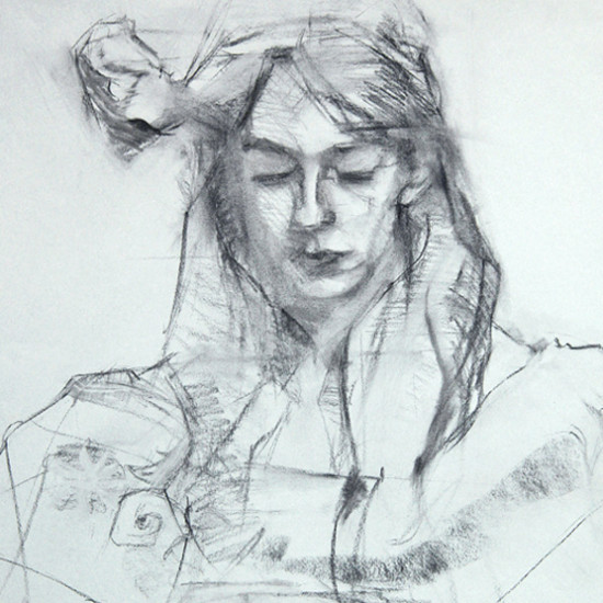 Knitting Charcoal Drawing