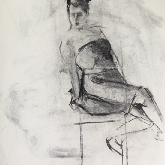 Party Girl Charcoal Drawing