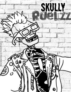 a punk skeleton with piercings and a mohawk in a leather jacket available for free download as a coloring page from Horrorfam