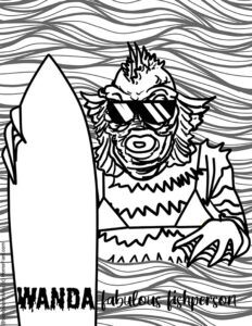 a fabulous fishperson or black lagoon creature with a sufboard and a bikini available for free download as a coloring page from Horrorfam