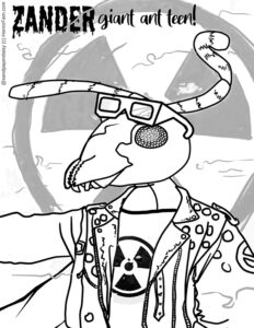 a giant mutant ant in a leather jacket available for free download as a coloring page from Horrorfam