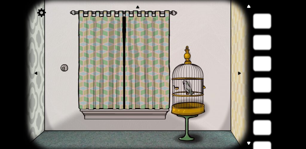 screenshot from Cube Escape: Seasons featuring a wall with a window and a parrot (Harvey) in a cage