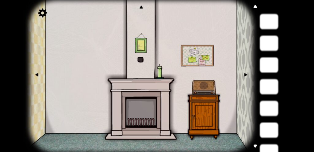 Screenshot from Cube Escape: Seasons featuring a fireplace, a picture frame, a radio, and a bulletin board.