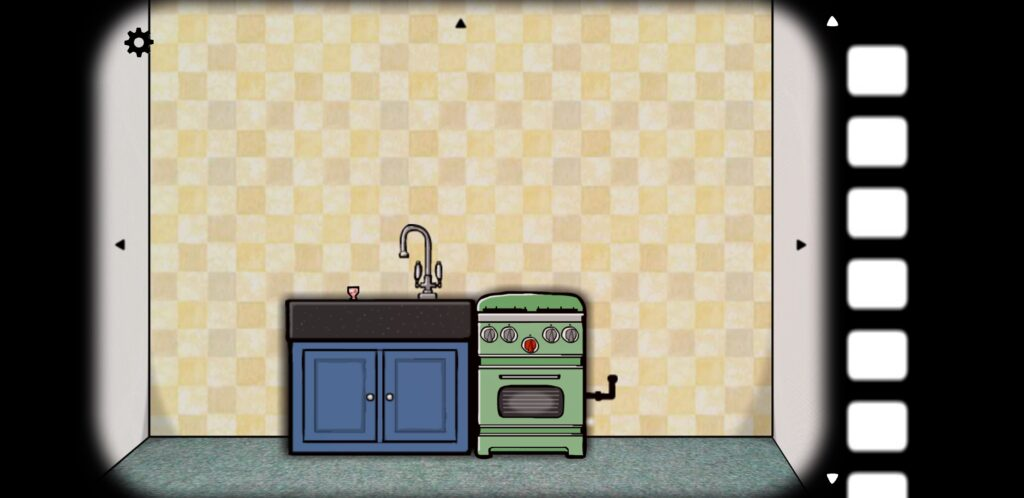 Screenshot of Cube Escape: Seasons featuring a wall with a kitchen sink and a stove/oven