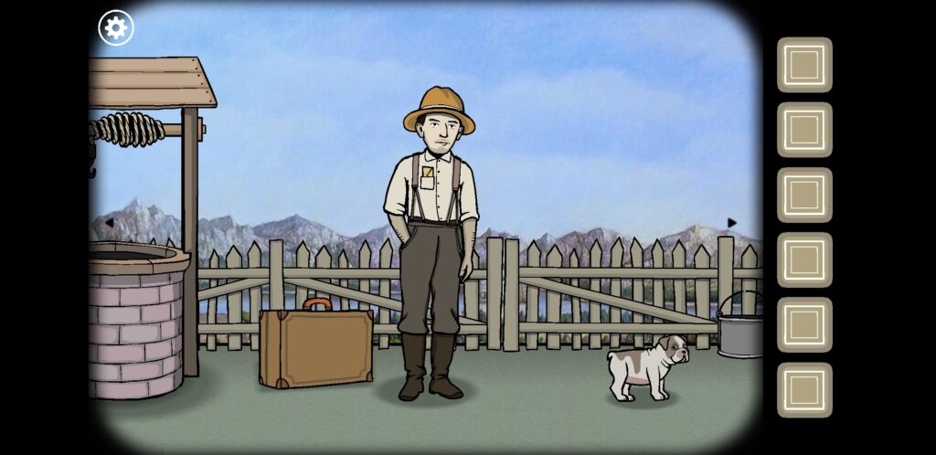 Screenshot from Rusty Lake: Roots - James Vanderboom and his dog (you're not trapped in a room in this one!)