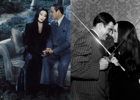 Gomez and Morticia Addams in the 1990 movie and in the 1960s television show