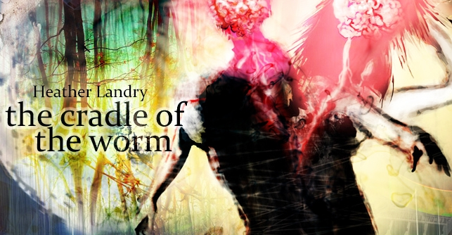 a monstrous creature, half male half female, rears up against a lurid moon on this book cover teaser for cradle of the worm by sandpaperdaisy.