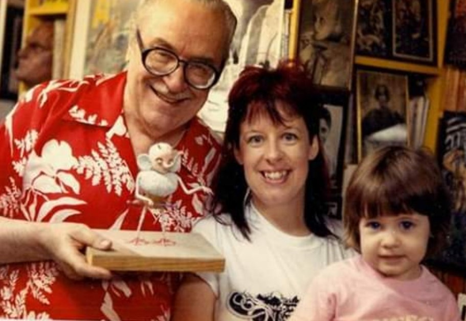 Forry Ackerman with Cathy Tharp and her daughter Lauren