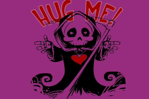 cute grim reaper illustration asking for a hug