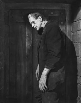Boris Karloff as Frankenstein looking sad