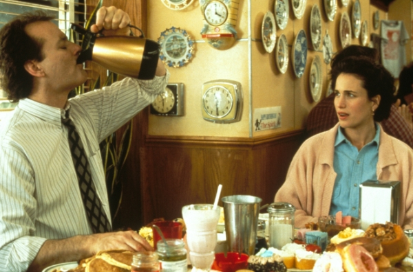 Scene from Groundhog Day where Bill Murry is drinking straight out of a coffee pot