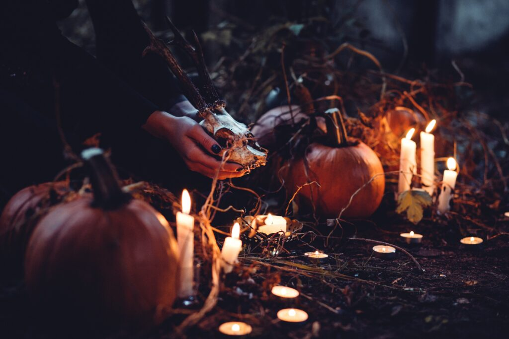 Photo of hands cradling and animal skull, pumpkins, and candles