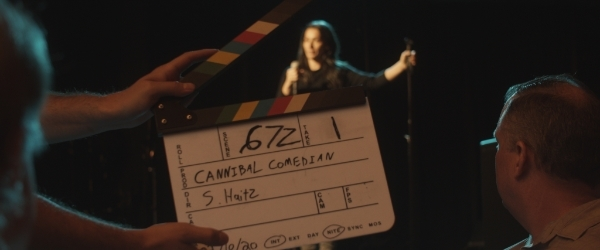 Cannibal Comedian clapper with S. Haitz written on it in the Director spot.