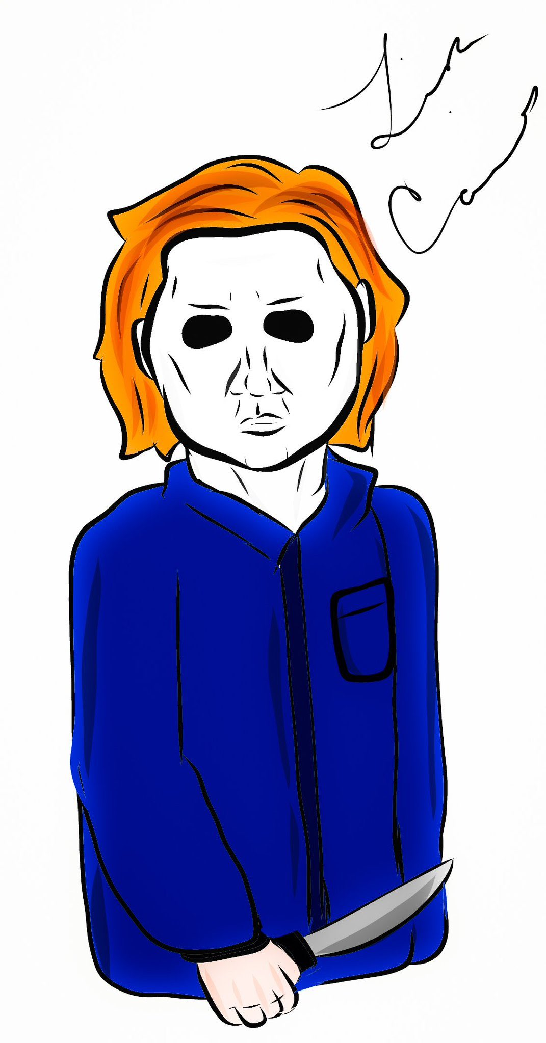 Lisa Caines drawing of Craig as Michael Myers