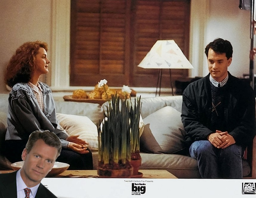 """Screenshot of Susan and """"adult"""" Josh sitting on a couch in Big with Catch a Predator's Chris Hansen peeking in with his """"take a seat"""" face"""