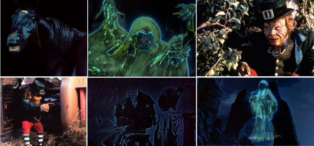 screenshots: horse/kelpie, banshee, leprechaun, leprechaun again, headless driver of the Death Coach, banshee again