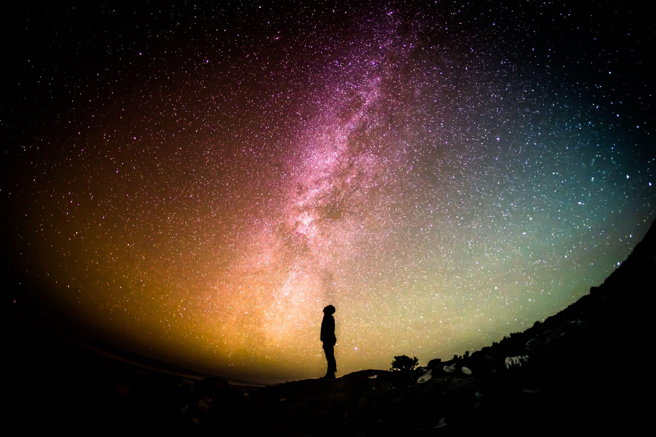 spiritual truth man looking at cosmos