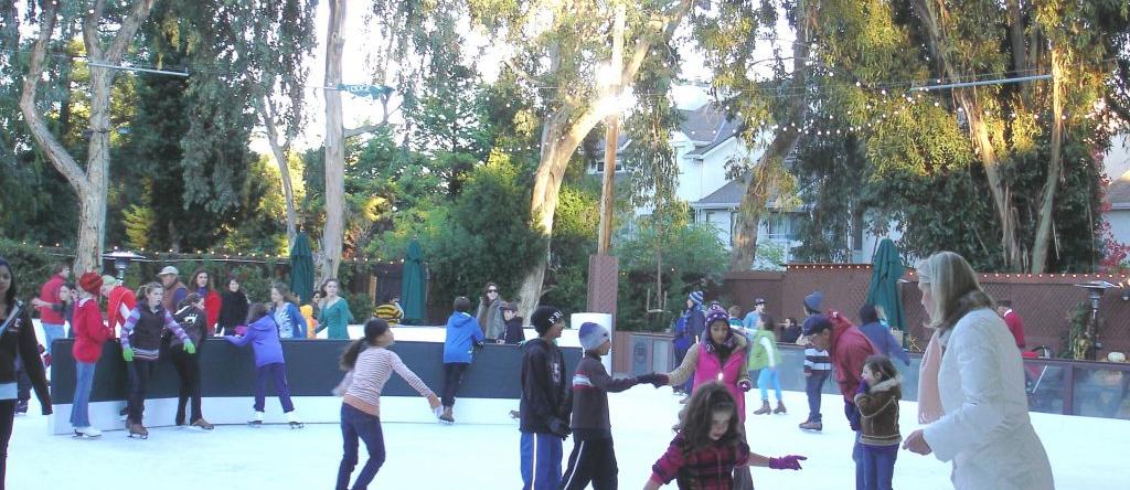 Public skating at winter lodge
