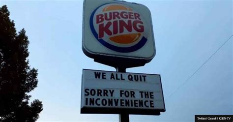 'We all quit' Burger King sign goes viral as staff walk out