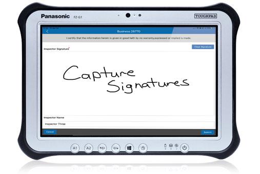 Mobile signature capture shown on a Panasonic ToughPad