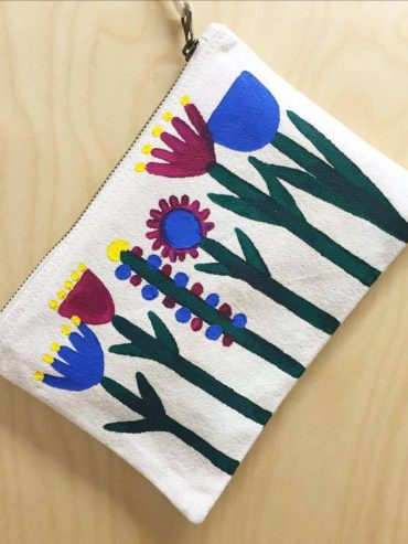 Floral Blue hand painted pouch
