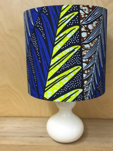 African wax print lampshade in cobalt, lemon & brown (20cm)