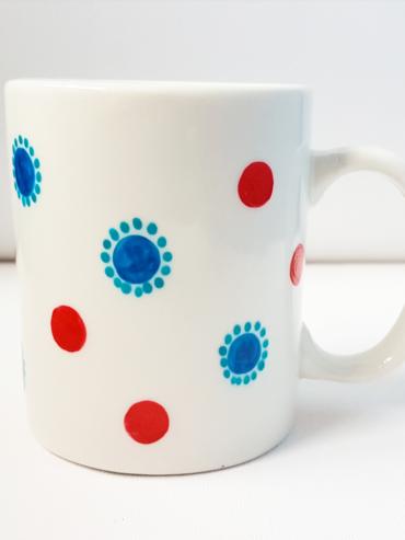 Floral Dot Hand Painted Mug
