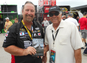 """Don """"The Snake"""" Prudhomme came to the track to help Jeff celebrate his final race."""