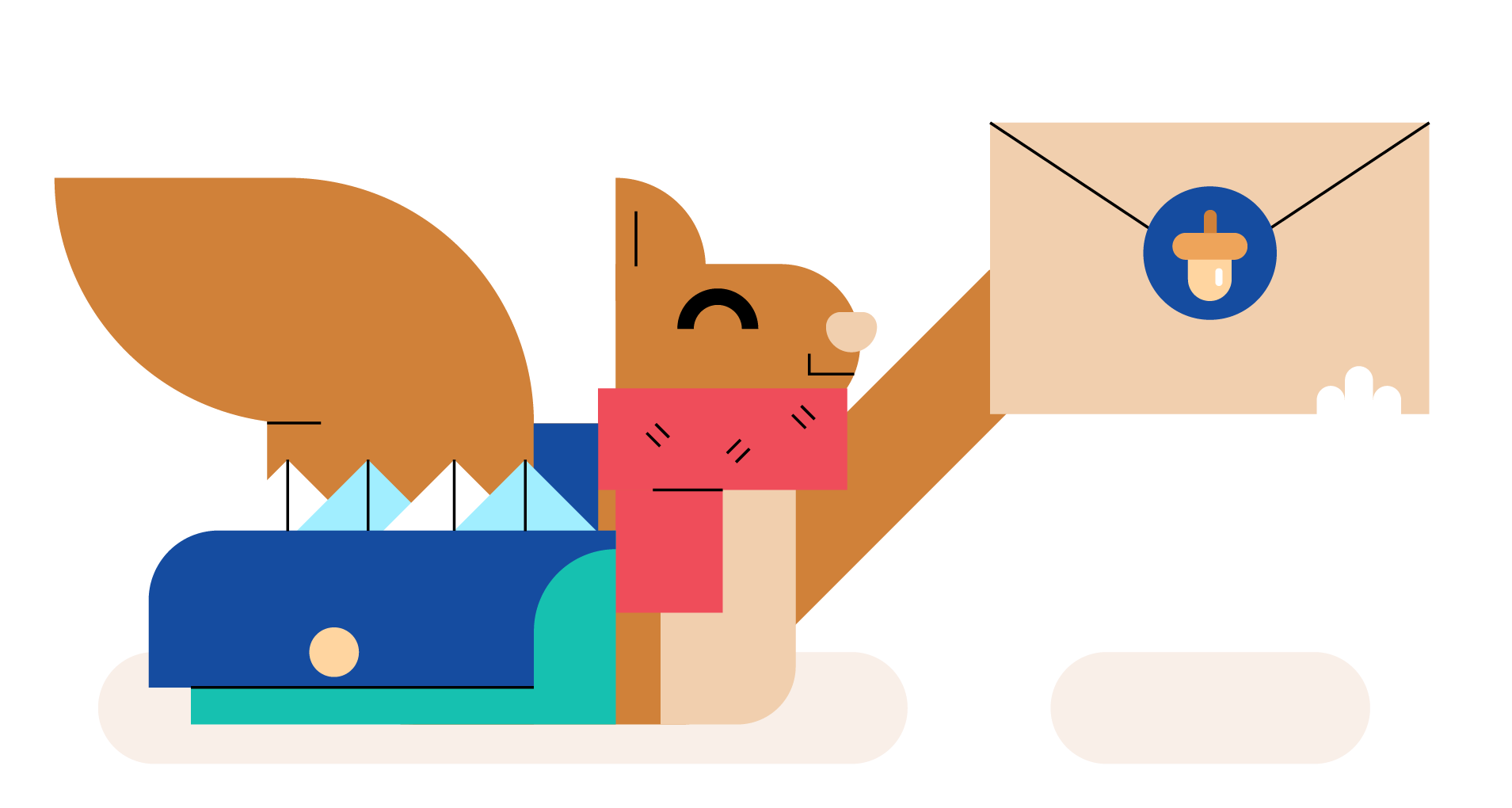 A squirrel wearing a scarf holds up a letter. At their side is a messenger bag filled with other letters.